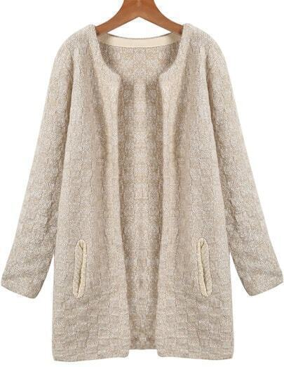 White Long Sleeve Pockets Knit Cardigan
