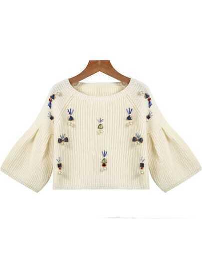 White Long Sleeve Bead Crop Knit Sweater