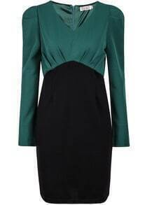 Green V Neck Long Sleeve Bodycon Dress