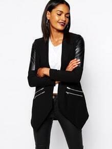 Black Contrast PU Leather Long Sleeve Zipper Outerwear