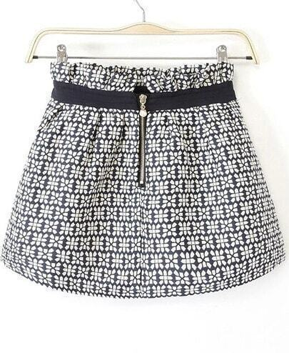 Navy Zipper Floral Flare Skirt