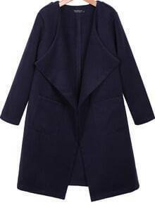 Dark Blue Lapel Long Sleeve Pockets Coat