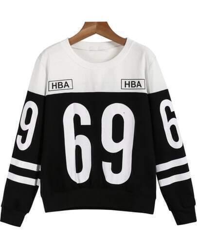 Black White Long Sleeve 69 Print Sweatshirt