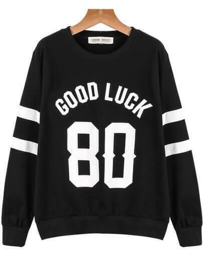 Black Long Sleeve GOOD LUCK 80 Print Sweatshirt