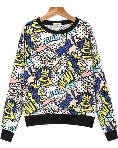 Yellow Long Sleeve Letters Print Sweatshirt