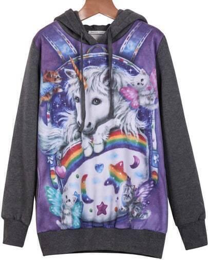 Grey Hooded Long Sleeve Unicorn Print Sweatshirt