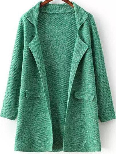 Green Lapel Long Sleeve Chunky Cardigan