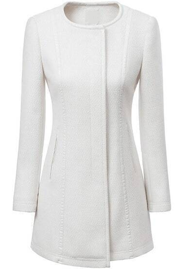 White Round Neck Long Sleeve Slim Trench Coat