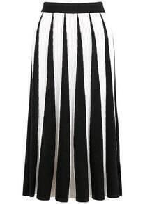 Black White Vertical Stripe Knit Skirt
