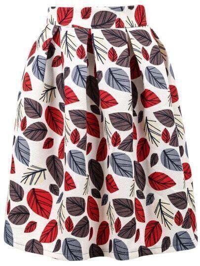 White Leaves Print Skirt