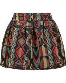 Black Tribal Print Flare Skirt