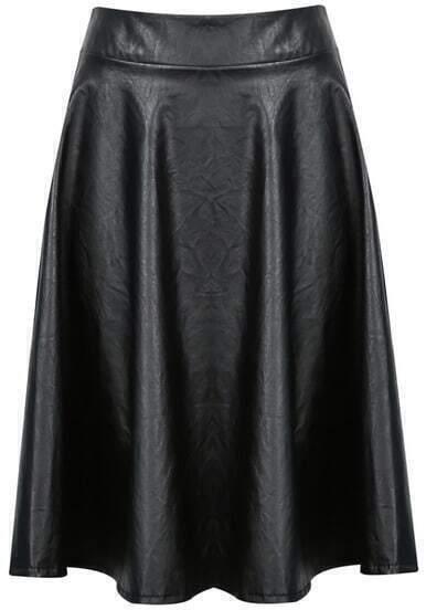 Black Elastic Waist Pleated PU Leather Skirt