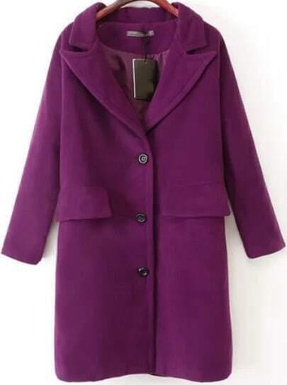 Purple Lapel Long Sleeve Buttons Woolen Coat