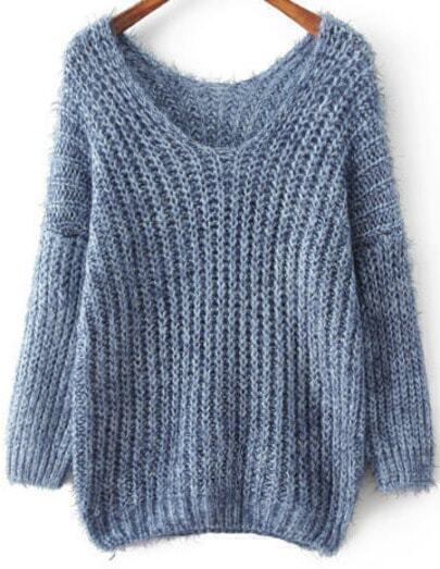 Blue V Neck Long Sleeve Mohair Loose Sweater