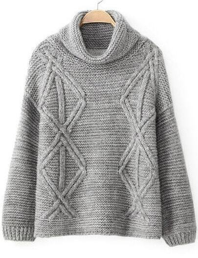 Grey High Neck Long Sleeve Diamond Patterned Sweater