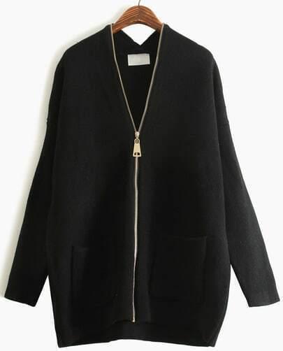 Black V Neck Long Sleeve Zipper Pockets Sweater
