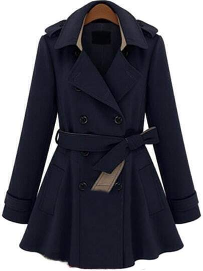 Navy Long Sleeve Double Breasted Belt Coat