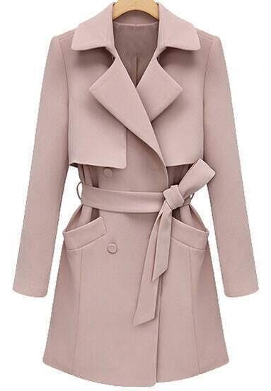 Pink Lapel Long Sleeve Belt Pockets Coat