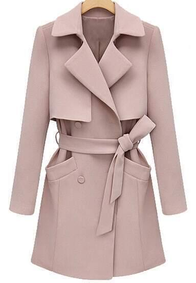 Pink Lapel Long Sleeve Belt Pockets Coat