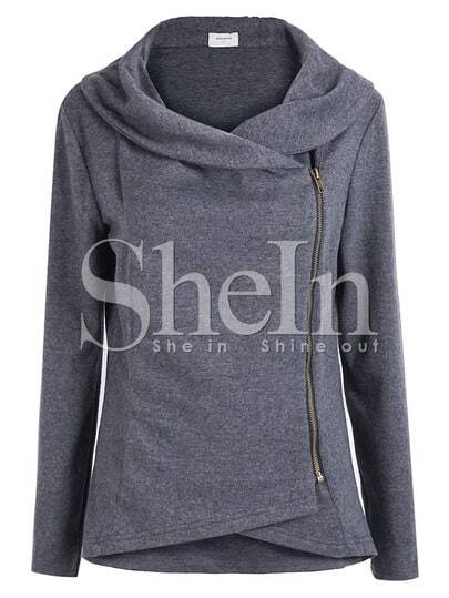 Dark Grey Long Sleeve Asymmetric Zip Outerwear pictures