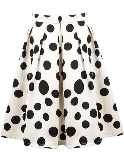 White Polka Dot Pleated Skirt