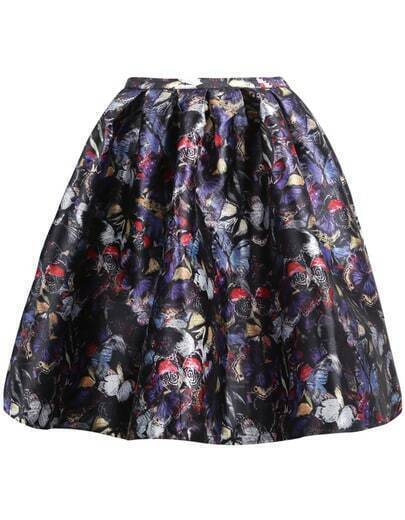 Falda mariposa floral-negro