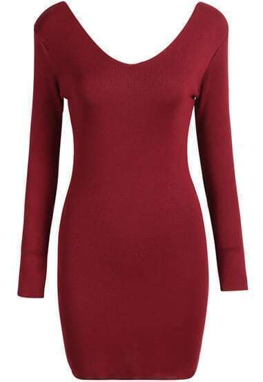 Red V Neck Long Sleeve Knit Bodycon Dress