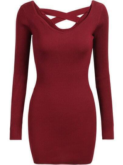 Red Criss Cross Long Sleeve Bodycon Dress