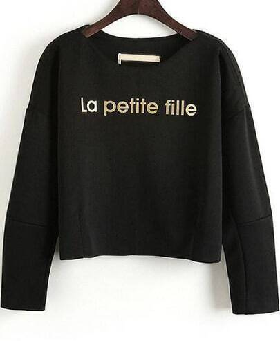 Black Long Sleeve La petite fille Print Crop Sweatshirt