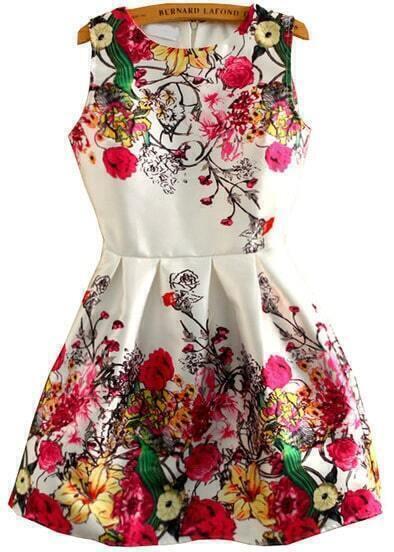 Vestito a fiori smanicato-bianco