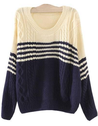 Beige Navy Long Sleeve Diamond Patterned Knit Sweater