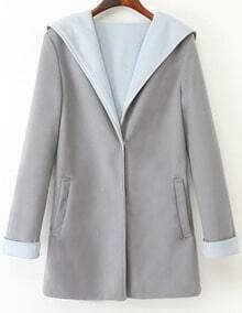 Blue Grey Hooded Long Sleeve Woolen Coat