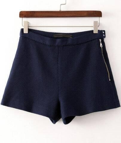 Navy Zipper Straight Shorts