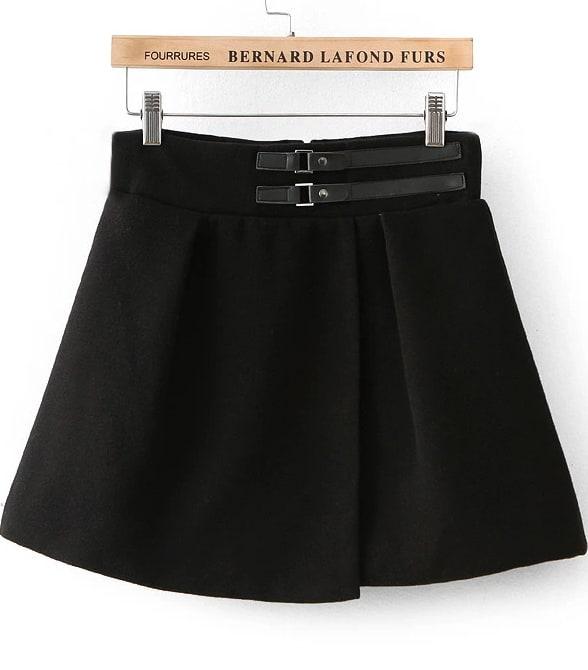black leather buckle flare skirt shein sheinside