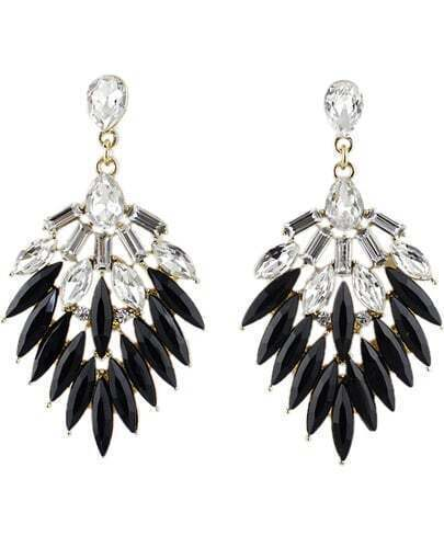 Black Gemstone Silver Leaf Earrings