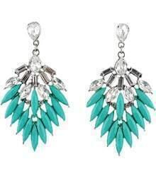 Blue Gemstone Silver Leaf Earrings