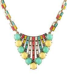 Yellw Green Gemstone Bead Gold Fashion Necklace
