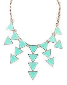 Blue Gold Triangle Chain Necklace