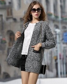 Grey Long Sleeve Pockets Knit Loose Cardigan