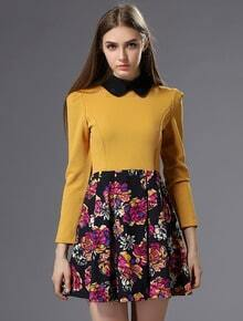 Yellow Long Sleeve Rose Print Slim Dress
