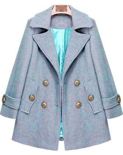 Blue Lapel Long Sleeve Buttons Woolen Coat