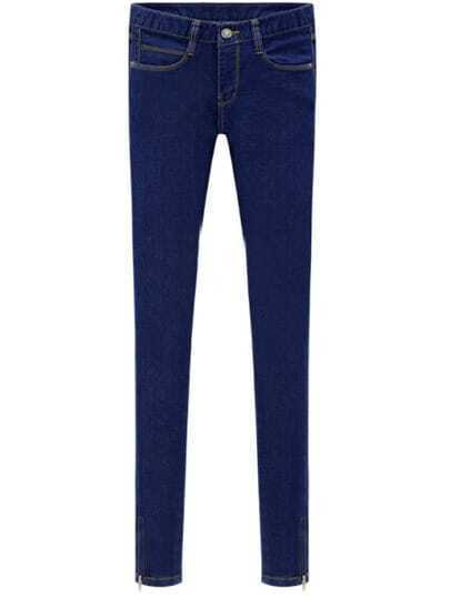 Blue Pockets Slim Elastic Denim Pant