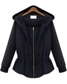 Black Hooded Long Sleeve Drawstring Loose Sweatshirt