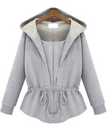 Grey Hooded Long Sleeve Drawstring Loose Sweatshirt