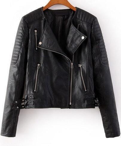 Black Long Sleeve Zipper Crop PU Leather Jacket