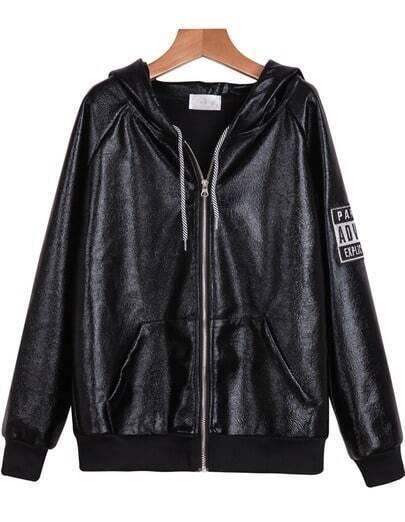 Black Hooded Long Sleeve PU Leather Jacket