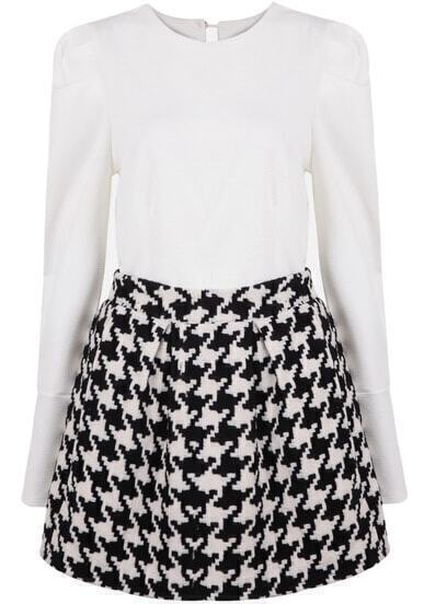 White Round Neck Puff Sleeve Top With Black Houndstooth Skirt