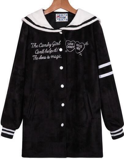 Black Long Sleeve Heart Letters Print Coat