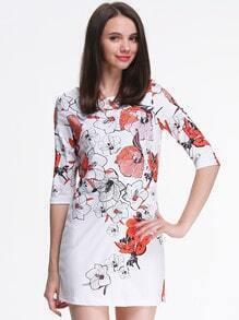 White Half Sleeve Floral Print Dress
