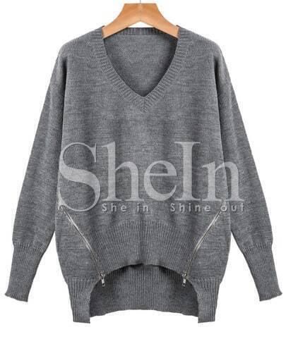Grey Long Sleeve Zipper High Low Sweater